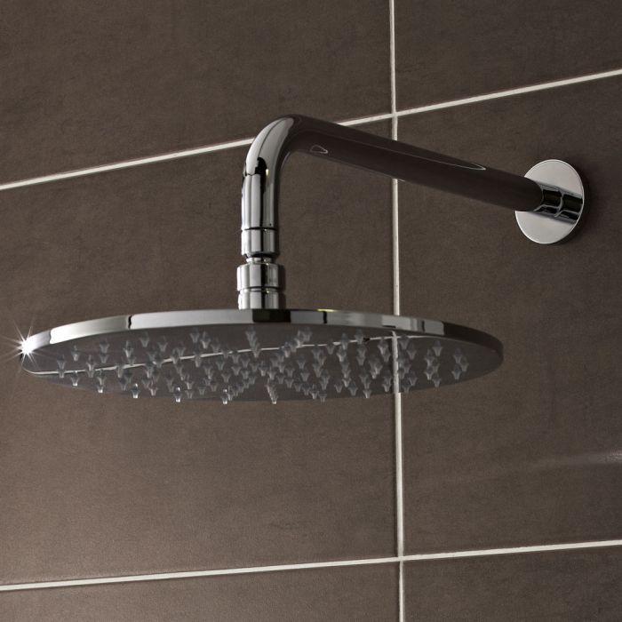 Soffione Doccia a LED Orientabile 300mm Tondo con Braccio Doccia Murale