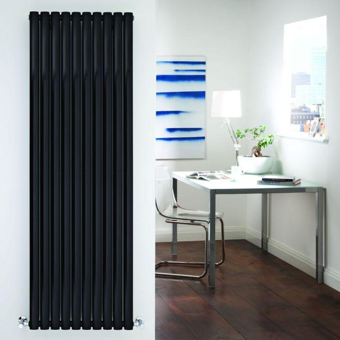 Radiatore di Design Verticale Doppio - Nero Lucido - 1780mm x 590mm x 78mm - 2335 Watt - Revive