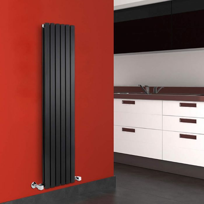 Radiatore di Design Verticale Doppio - Nero - 1600mm x 354mm x 72mm - 1193 Watt - Sloane