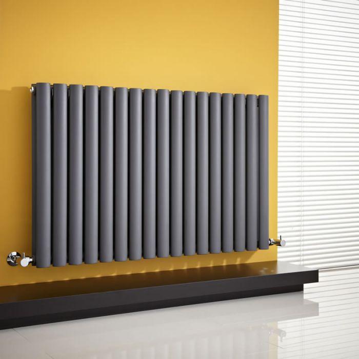 Radiatore di Design Orizzontale Doppio - Antracite - 635mm x 1000mm x 78mm - 1584 Watt - Revive