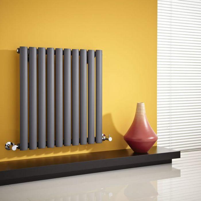 Radiatore di Design Orizzontale  - Antracite - 635mm x 595mm x 55mm - 597 Watt - Revive