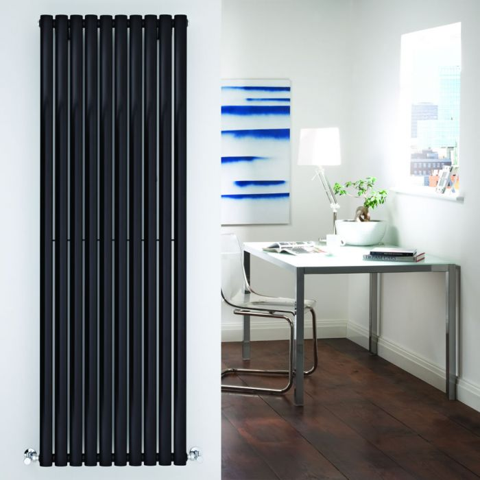 Radiatore di Design Verticale - Nero Lucido - 1780mm x 590mm x 55mm - 1487 Watt - Revive