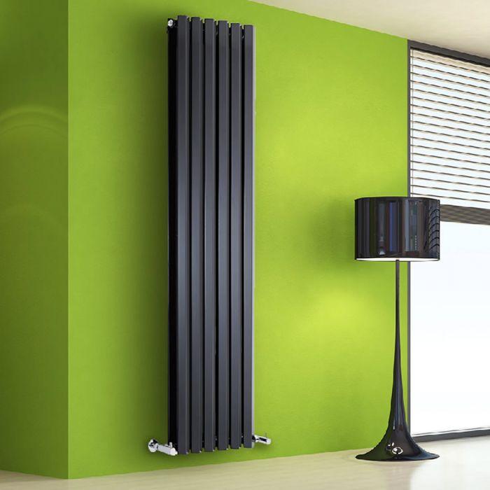 Radiatore di Design Verticale Doppio - Nero Lucido - 1780mm x 420mm x 86mm - 1618 Watt - Rombo