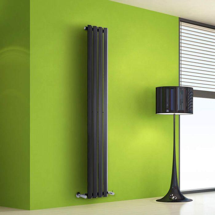 Radiatore di Design Verticale - Nero Lucido - 1600mm x 280mm x 60mm - 630 Watt - Rombo