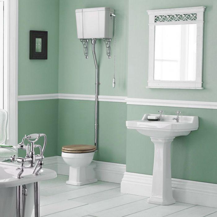 Set Bagno Completo di Lavabo e Sanitario Tradizionale con Cassetta Alta con Scelta di Sedili Copri WC