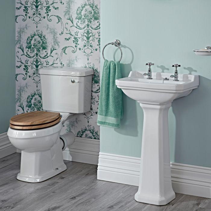 Set Bagno Completo di Lavabo e Sanitario in Stile Tradizional con Scelta di Sedili Copri WC
