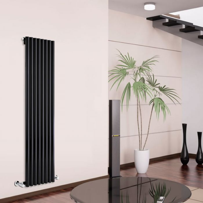 Radiatore di Design Verticale - Nero - 1780mm x 472mm x 80mm - 1391 Watt - Savy