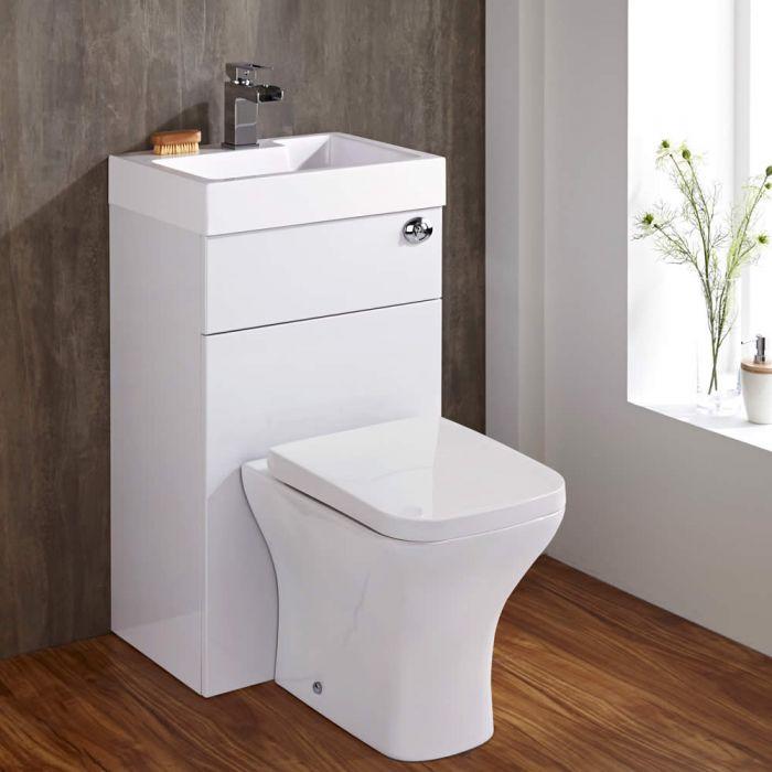 Set Bagno Completo di Lavabo Moderno e Sanitario Integrato Colore Bianco