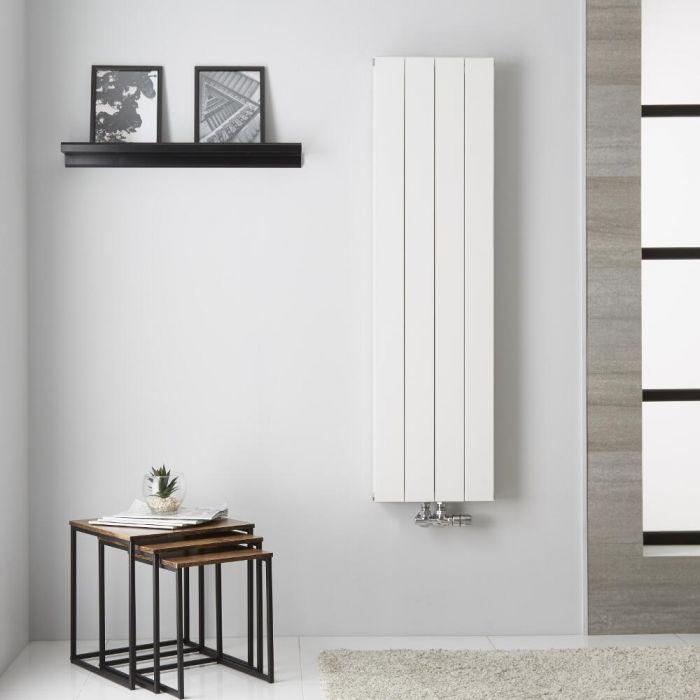 Radiatore di Design Verticale  Doppio con Attacco Centrale - Alluminio - Bianco - 1400mm x 375mm x 67mm  - 1162 Watt - Kett