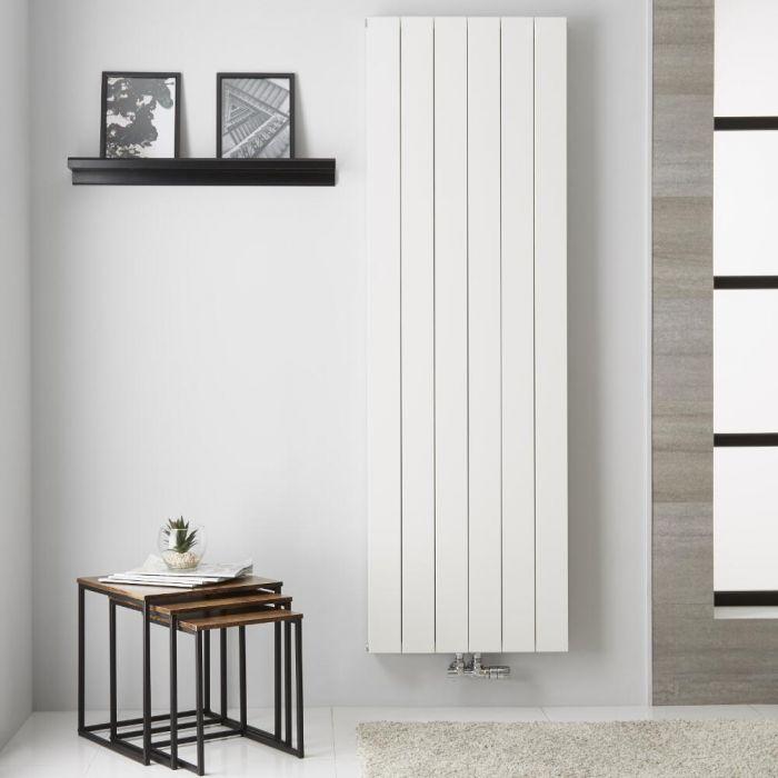 Radiatore di Design Verticale  Doppio con Attacco Centrale - Alluminio - Bianco - 1800mm x 565mm x 67mm  - 1918 Watt - Kett