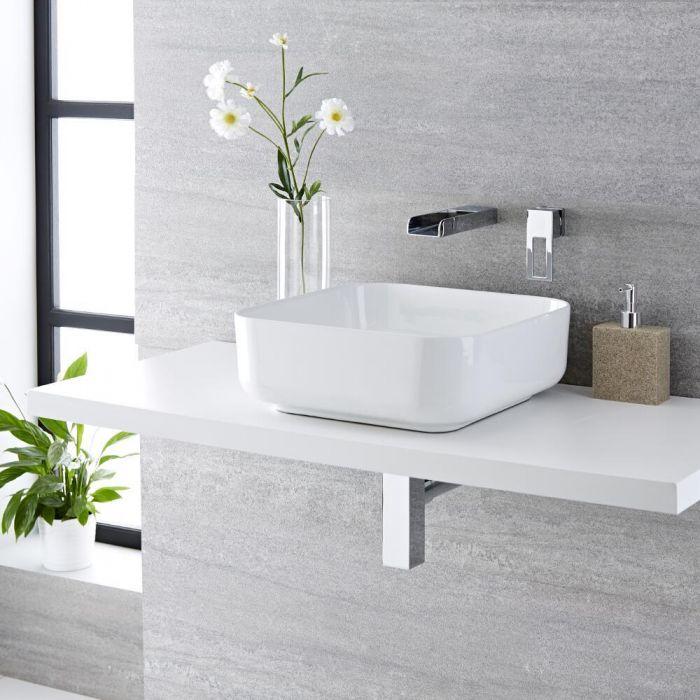 Lavabo Bagno da Appoggio Quadrato in Ceramica 400x400mm con ...