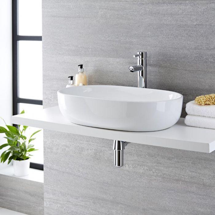 Lavabo Bagno da Appoggio in Ceramica Ovale 590x410mm - Otterton