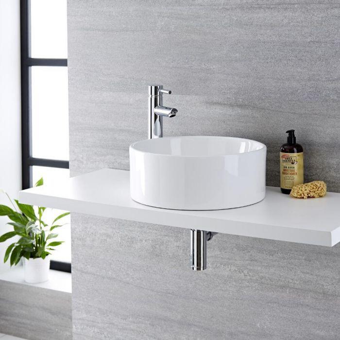 Lavabo Bagno da Appoggio Tondo in Ceramica  400x400mm con Rubinetto Miscelatore - Covelly