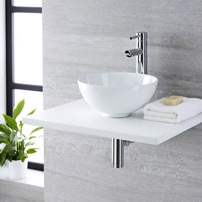 Lavabo Bagno da Appoggio Tondo in Ceramica 320x320mm con Rubinetto ...