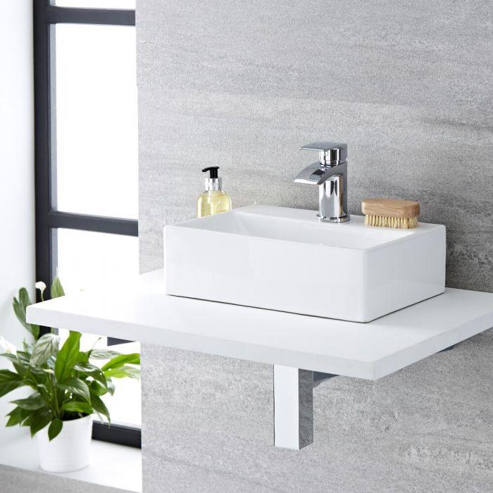 Lavabo Bagno da Appoggio Sospeso in Ceramica Ovale 360x250mm con Mini Rubinetto Miscelatore - Sandford