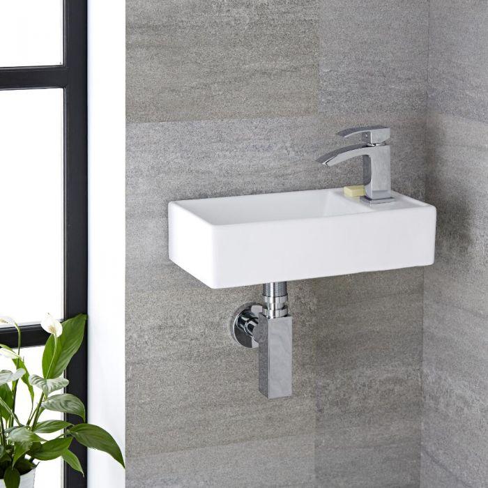 Lavabo Bagno da Appoggio o Sospeso in Ceramica Rettangolare 400x220mm - Halwell