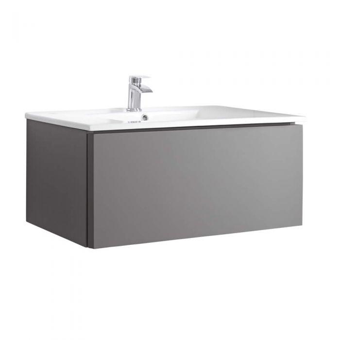 Mobile Bagno Murale 800mm con Lavabo Integrato Colore Grigio Opaco - Newington