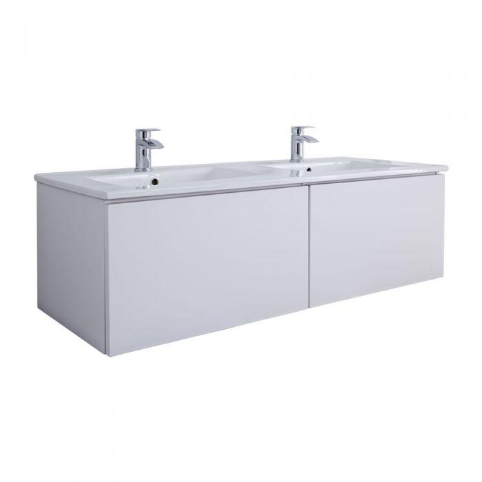 Mobile Bagno Murale 1200mm con 2 Lavabi Integrati Colore Bianco Opaco - Newington