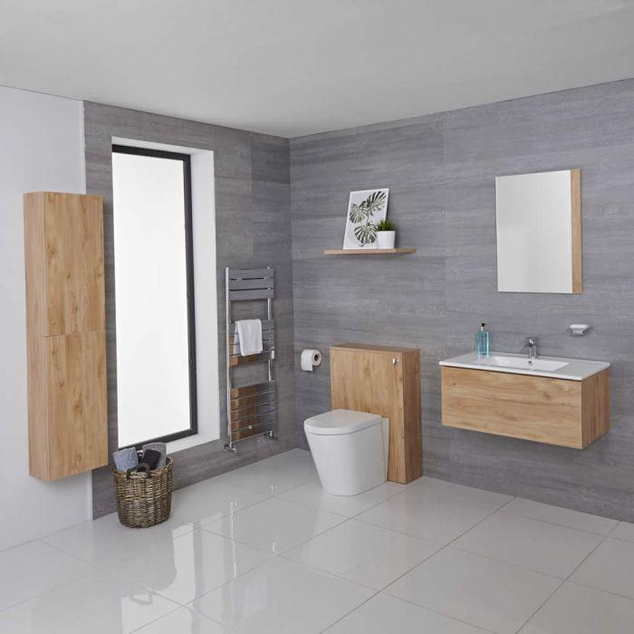 Mobile Bagno 800mm Colore Rovere Dorato Completo di Cassetta , Sanitario, Lavabo, Colonna Bagno Murale e Specchio Disponibile con Opzione LED - Newington