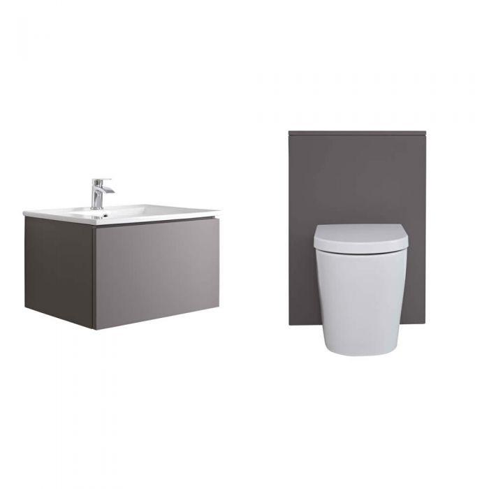 Mobile WC 600mm Colore Grigio Opaco per Stanza da Bagno Completo di Cassetta , Sanitario e Lavabo - Newington