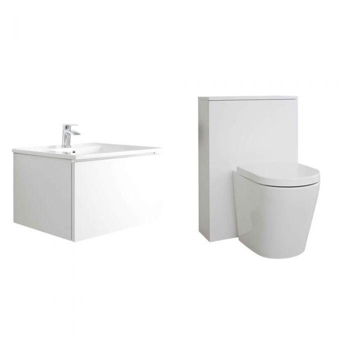 Mobile WC 600mm Colore Bianco Opaco per Stanza da Bagno Completo di Cassetta , Sanitario e Lavabo - Newington