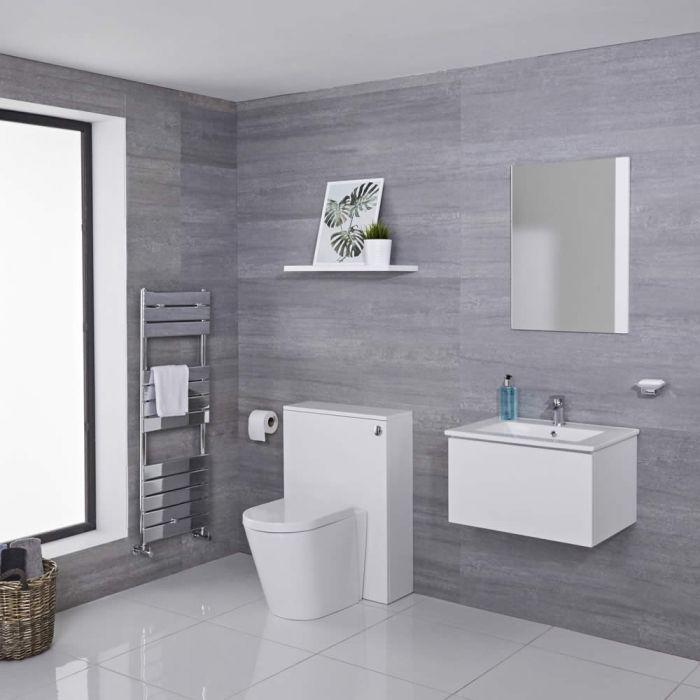 Mobile WC 600mm Colore Bianco Opaco per Stanza da Bagno Completo di Cassetta , Sanitario e Lavabo Disponibile con Opzione LED - Newington