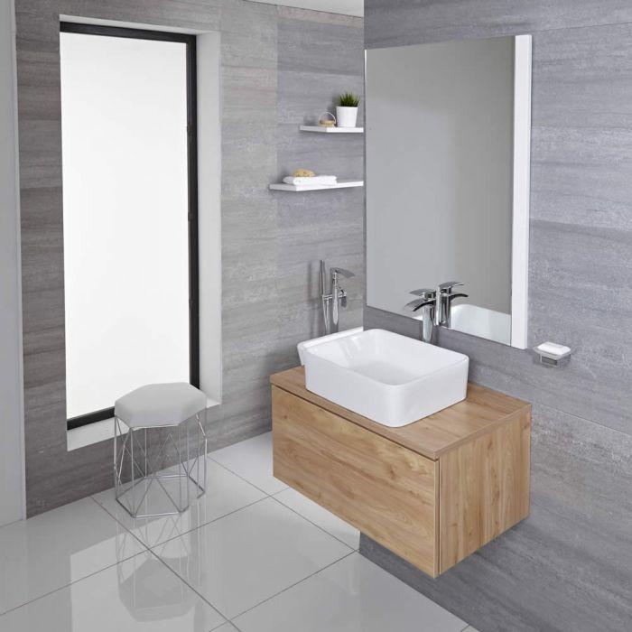 Mobile Bagno Murale 800mm Colore Rovere Dorato con Lavabo da Appoggio Disponibile con Opzione LED - Newington