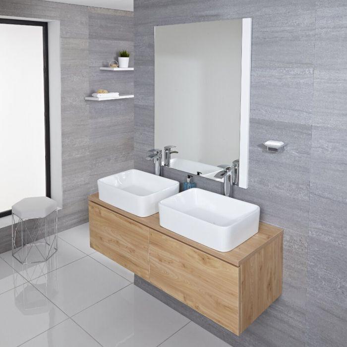 Mobile Bagno Murale 1200mm Colore Rovere Dorato con Lavabo da Appoggio Doppio Disponibile con Opzione LED - Newington