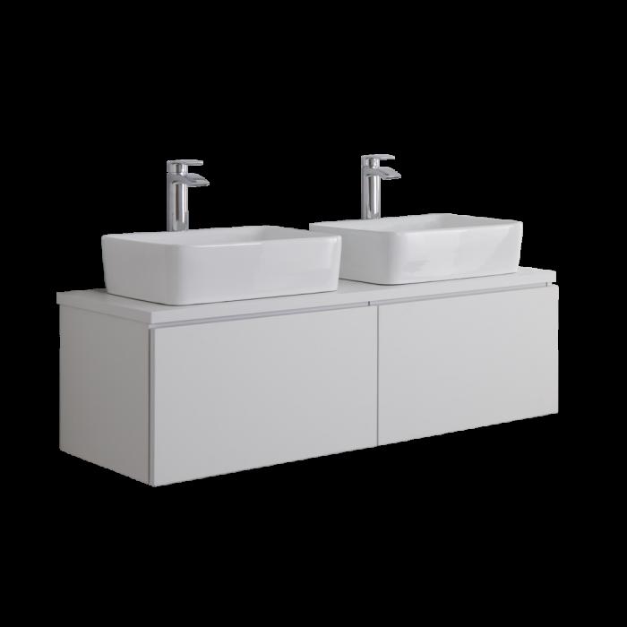Mobile Bagno Murale 1200mm Colore Bianco Opaco con Lavabo da Appoggio Doppio - Newington