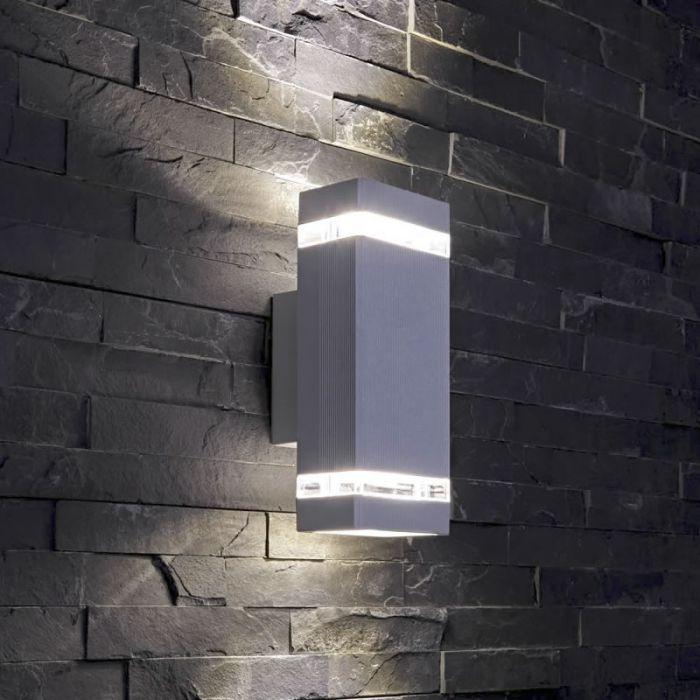 Applique da Esterno da Parete Architect Design Cubico Colore Grigio IP54 GU10