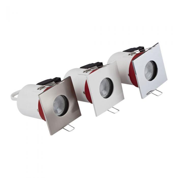 Biard Kit con 3 Faretti LED da Incasso GU10 IP65 Protezione Ignifuga con Porta Faretto Quadrato Disponibile in 3 Colori