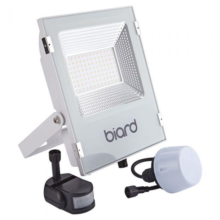 Biard Faro Proiettore Piatto Bianco 50W con Sensore PIR o Sensore CrepuscolareFaro Proiettore Piatto Bianco 50W con Sensore PIR o Sensore Crepuscolare