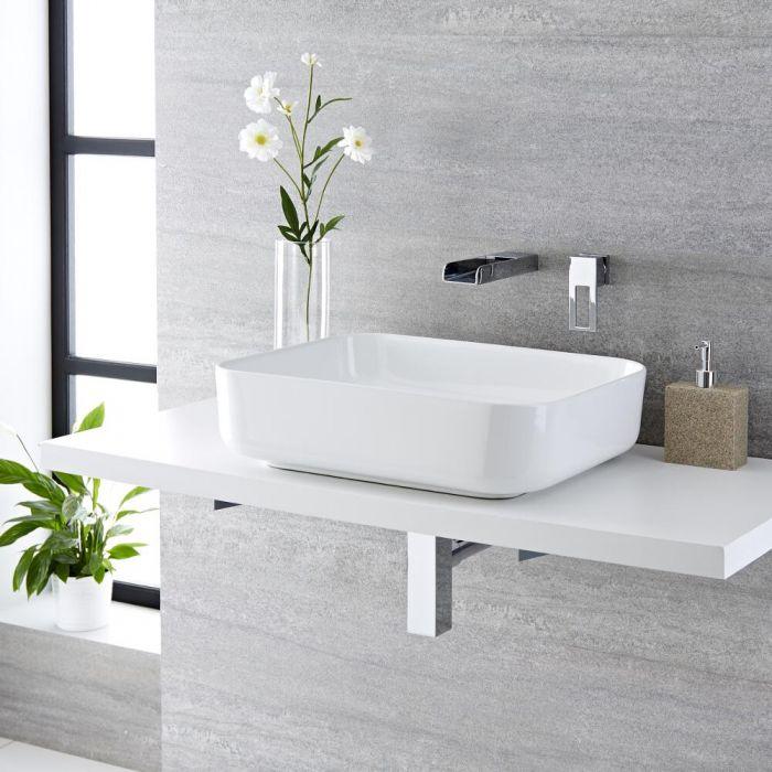 Lavabo Bagno da Appoggio Rettangolare in Ceramica 500x390mm Completo con Rubinetto a Cascata - Milton