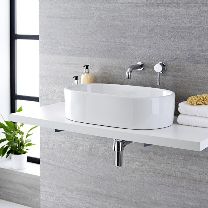 Lavabo Bagno da Appoggio in Ceramica Ovale 560x355mm con Rubinetto Miscelatore Murale -  Otterton