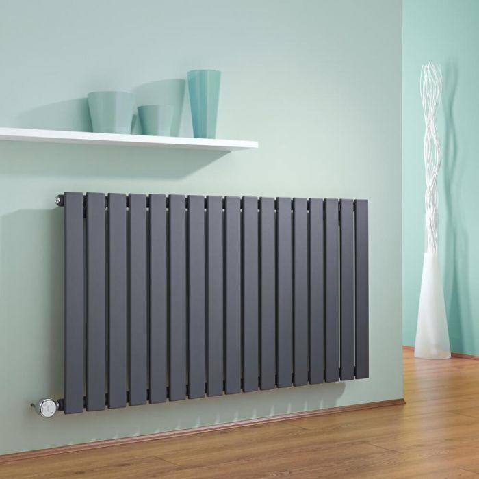 Radiatore di Design Elettrico Orizzontale - Antracite - 635mm x 1190mm x 46mm  - Elemento Termostatico 1000W  - Delta