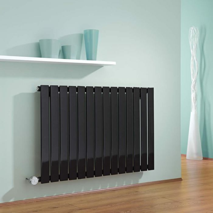 Radiatore di Design Elettrico Orizzontale - Nero - 635mm x 980mm x 46mm  - Elemento Termostatico  600W  - Delta
