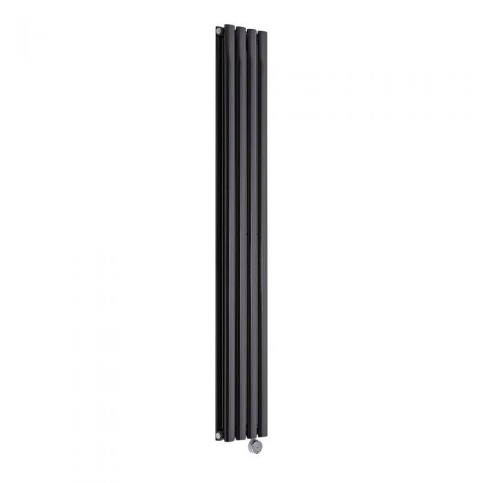 Radiatore di Design Elettrico Verticale Doppio - Nero - 1600mm x 236mm x 78mm  - 1 Elemento Termostatico 1200W  - Revive