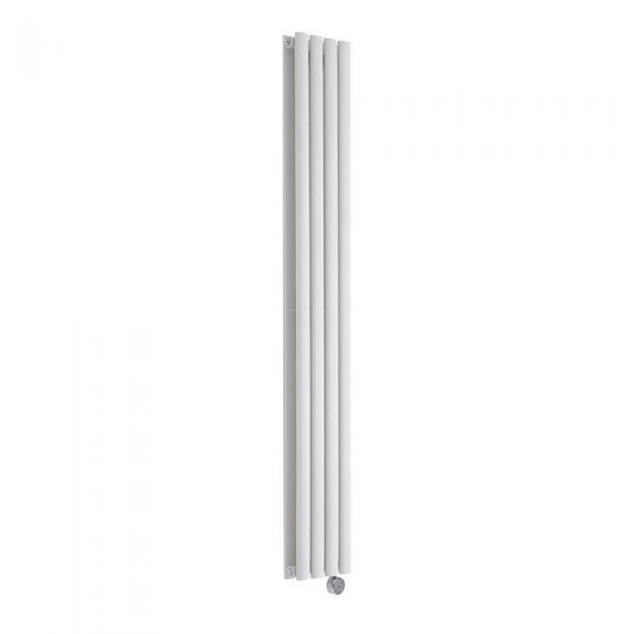 Radiatore di Design Elettrico Verticale Doppio - Bianco - 1600mm x 236mm x 78mm  - 1 Elemento Termostatico de 1200W  - Revive