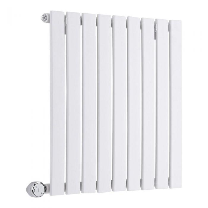 Radiatore di Design Elettrico Orizzontale - Bianco - 635mm x 600mm x 54mm  - Elemento Termostatico 600W  - Sloane