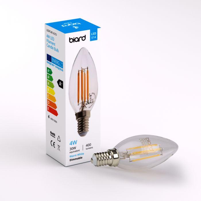 Biard Lampadina a Filamento LED Candela E14 4W