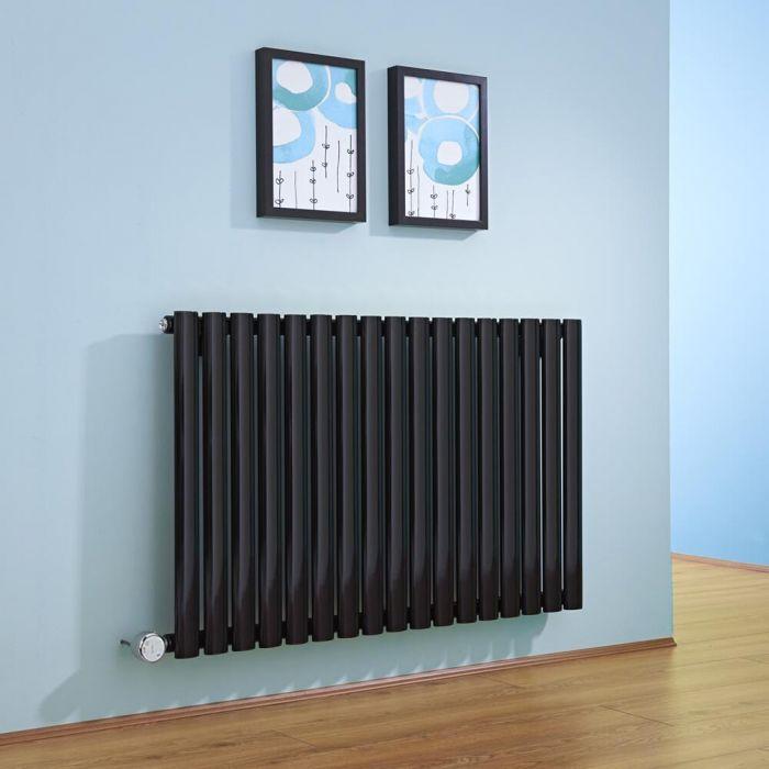 Radiatore di Design Elettrico Orizzontale - Nero - 635mm x 1000mm x 55mm  - Elemento Termostatico 1000W  - Revive
