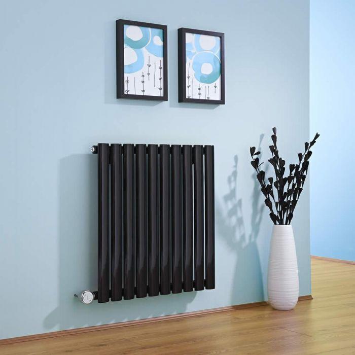 Radiatore di Design Elettrico Orizzontale - Nero - 635mm x 595mm x 55mm  - Elemento Termostatico  600W  - Revive