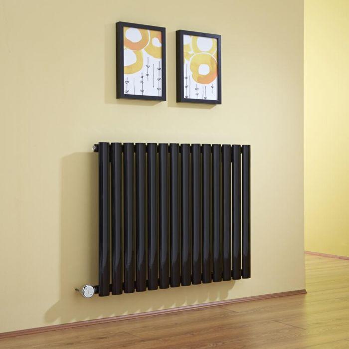 Radiatore di Design Elettrico Orizzontale - Nero - 635mm x 834mm x 56mm  - Elemento Termostatico 1000W  - Revive