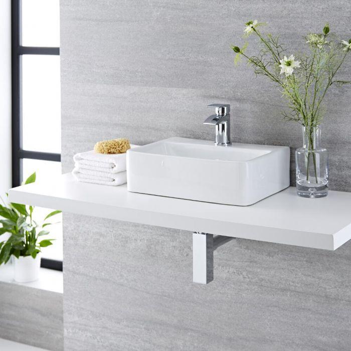 Lavabo Bagno da Appoggio in Ceramica Rettangolare 400x295mm - Exton