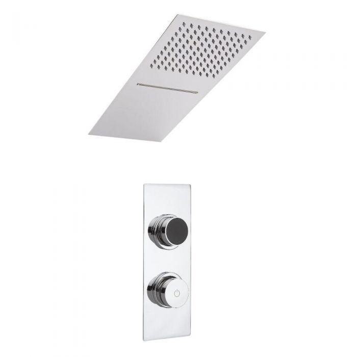 Doccia Digitale con Sistema di Controllo a 2 Vie con Soffione Doccia Effetto a Pioggia e Cascata con Doccetta