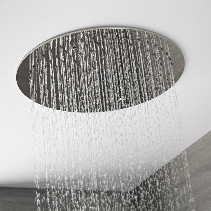 Soffione Doccia da Incasso Quadrato a Soffitto Circolare 400 x 400mm Acciaio Inox - Trenton