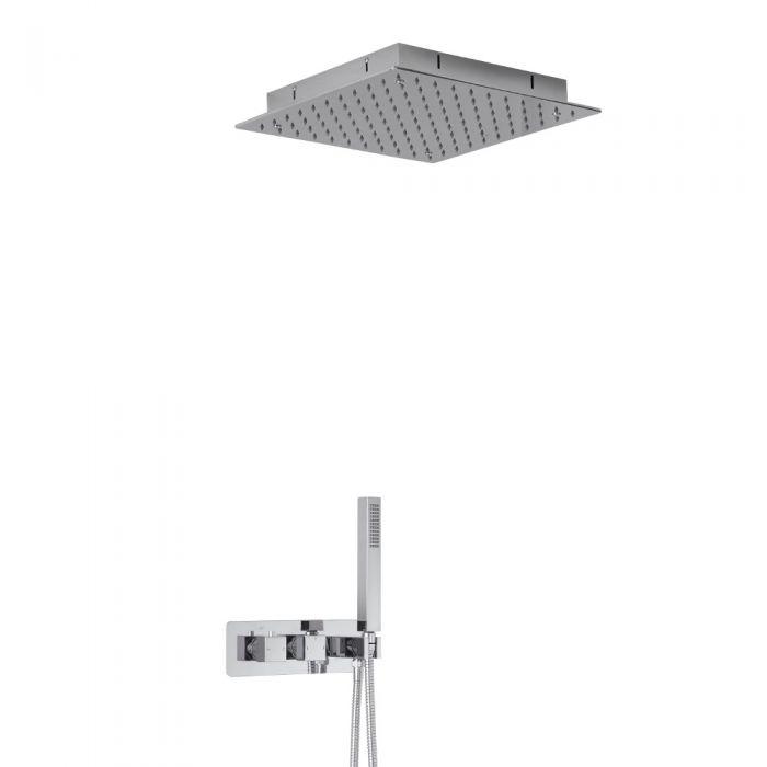 Miscelatore Doccia Incasso Quadrato a 2 Vie con Deviatore Integrato con Soffione Doccia da Incasso 400mm e Doccetta - Arvo