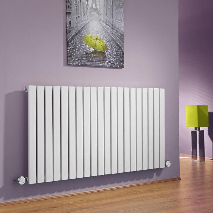Radiatore di Design Elettrico Orizzontale - Bianco - 635mm x 1180mm x 54mm  - 2 Elementi Termostatici 600W  - Sloane