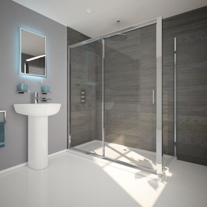 Un kit doccia con box doccia rettangolare completo con piatto doccia e valvola di scarico