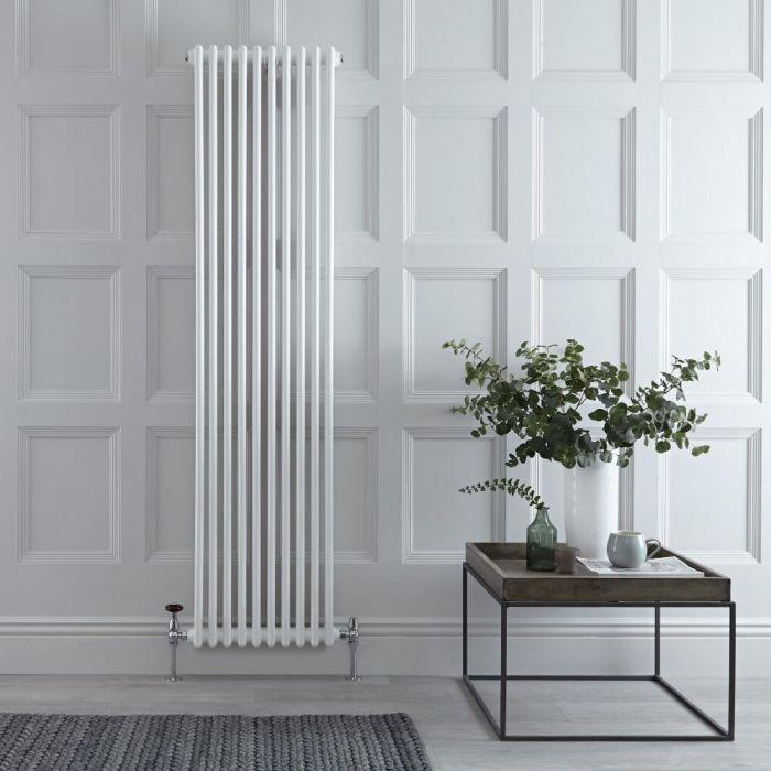 Radiatore di Design Verticale Doppio Tradizionale - Bianco - 1800mm x 470mm x 70mm - 1556 Watt - Regent
